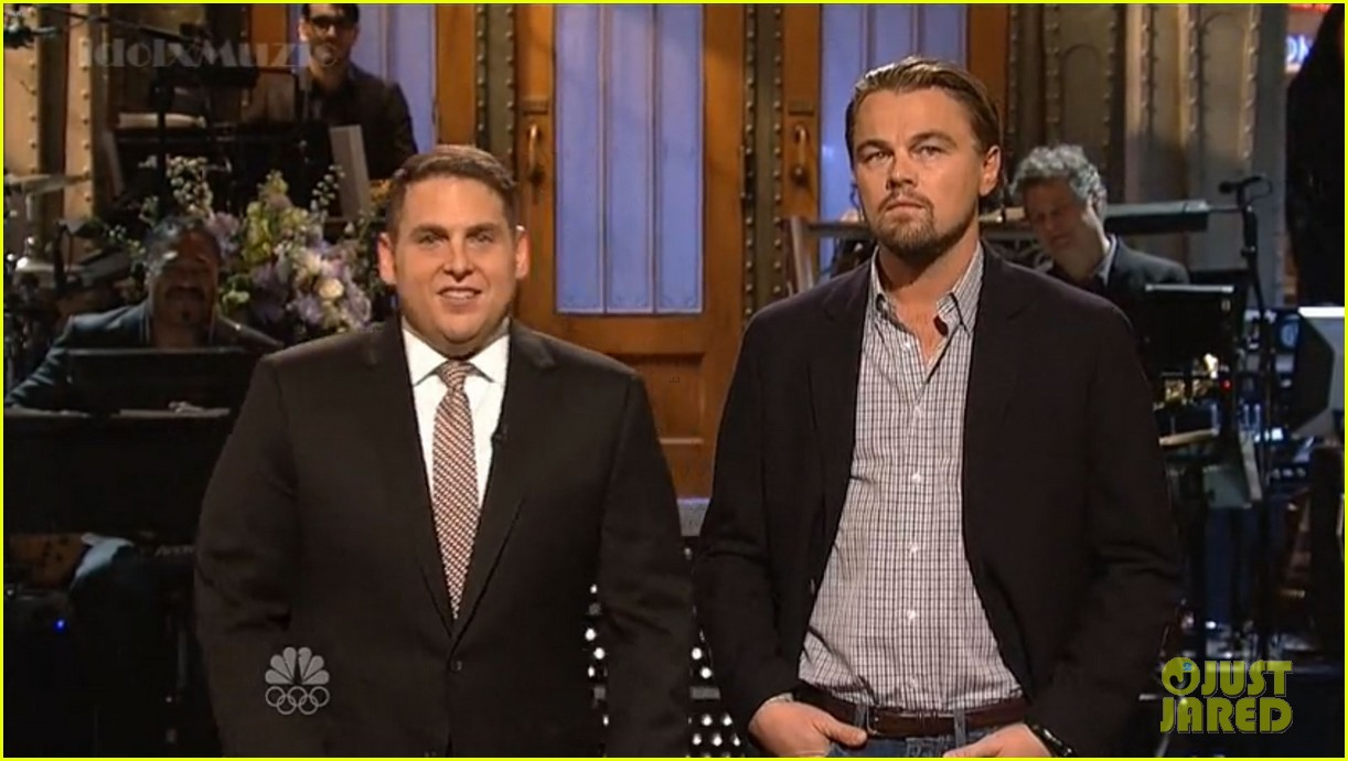 leonardo dicaprio jonah hill recreate titanic scene on snl 033040357