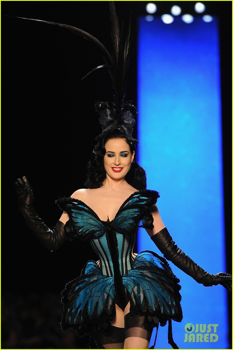 dita von teese hits runway for john paul gaultier show 153037778