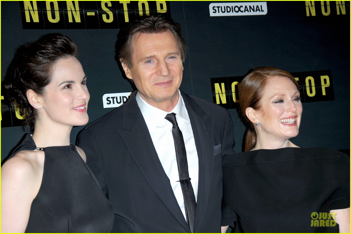 michelle dockery julianne moore non stop paris premiere 17