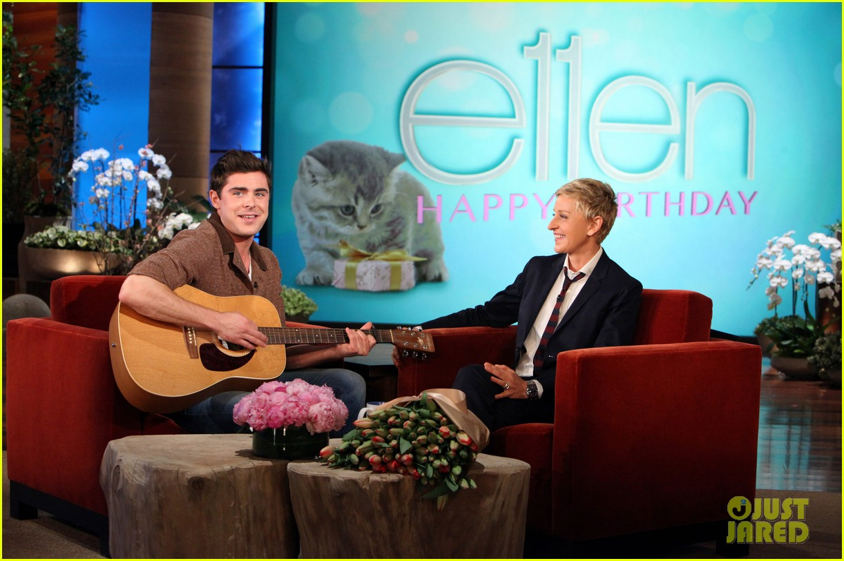 zac efron sings plays guitar for ellen degeneres birthday watch now 023044311