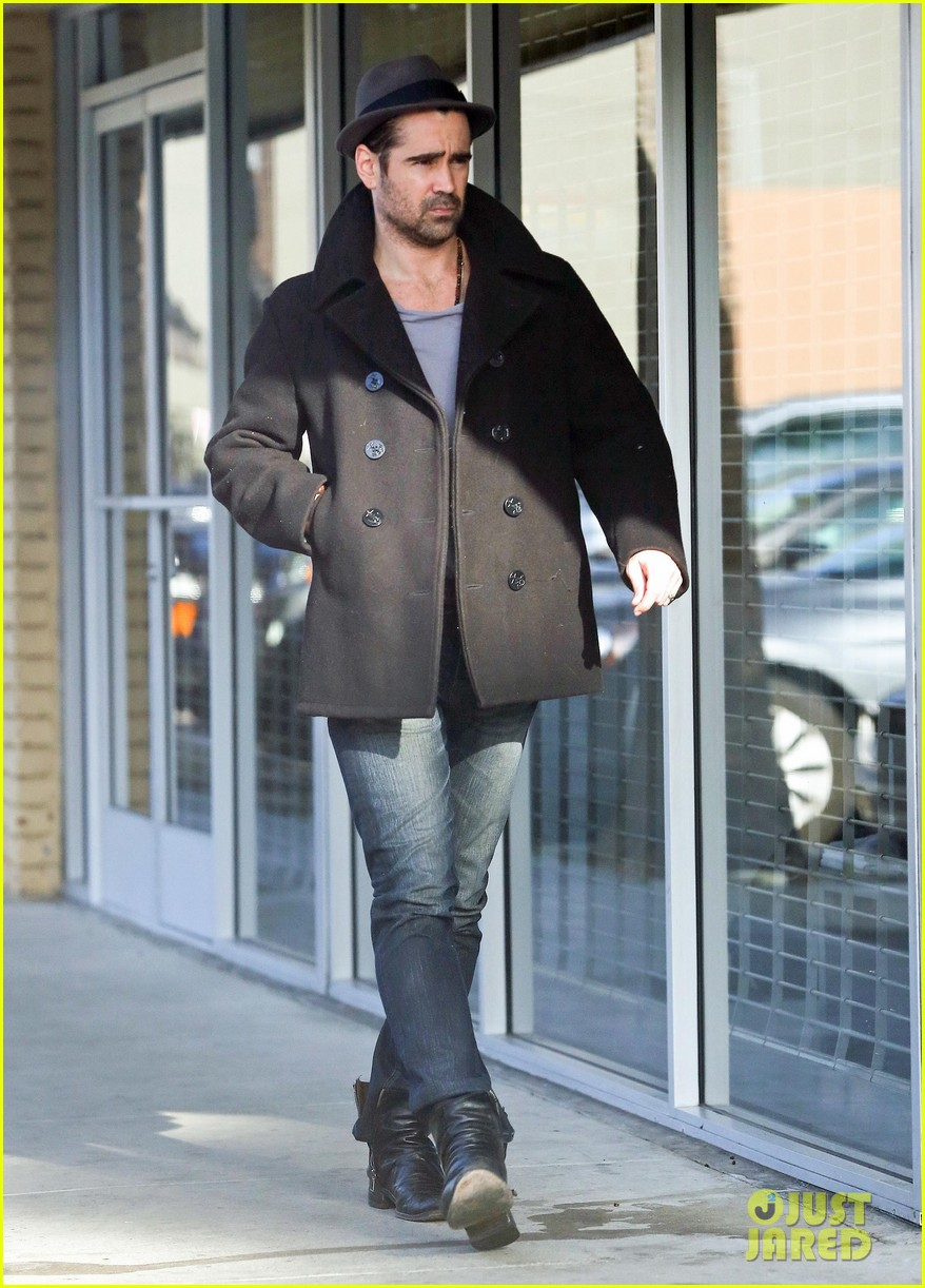 colin farrell wears his fedora peacoat for coffee run 023039337