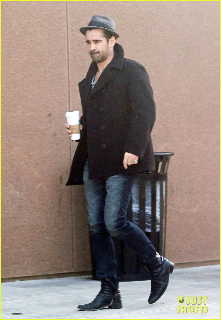 colin farrell wears his fedora peacoat for coffee run 053039340