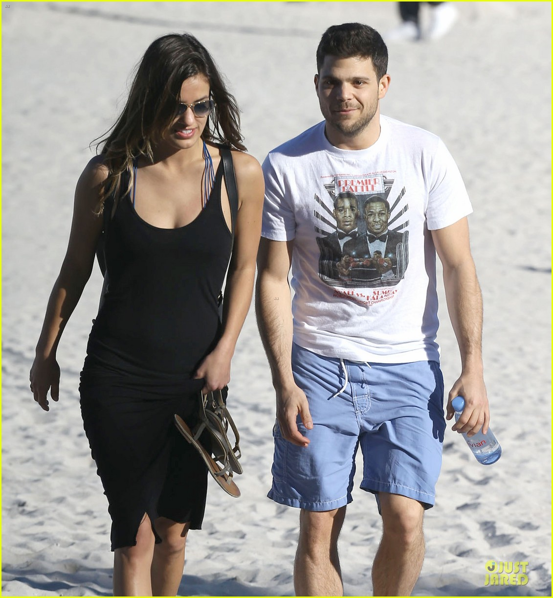 jerry ferrara shirtless miami beach lounging with girlfriend 163036123