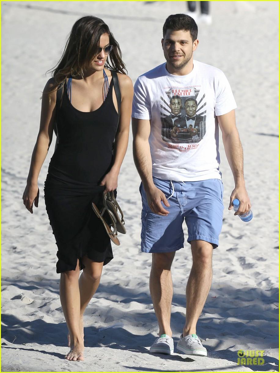 jerry ferrara shirtless miami beach lounging with girlfriend 173036124
