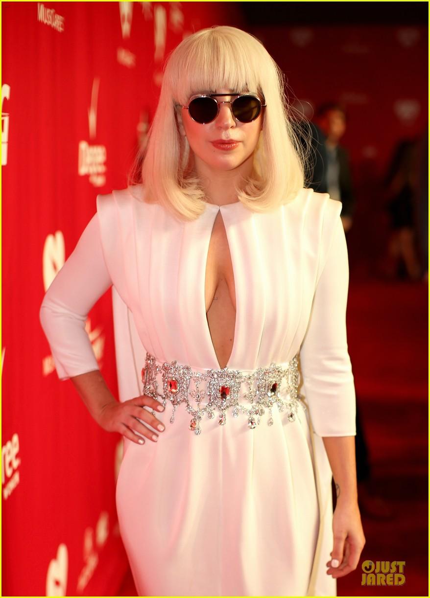 lady gaga white cut out dress at musicares gala 2014 023039697