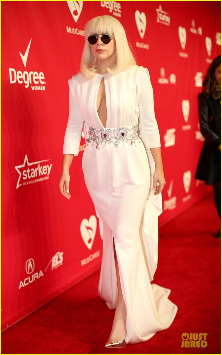 lady gaga white cut out dress at musicares gala 2014 033039698