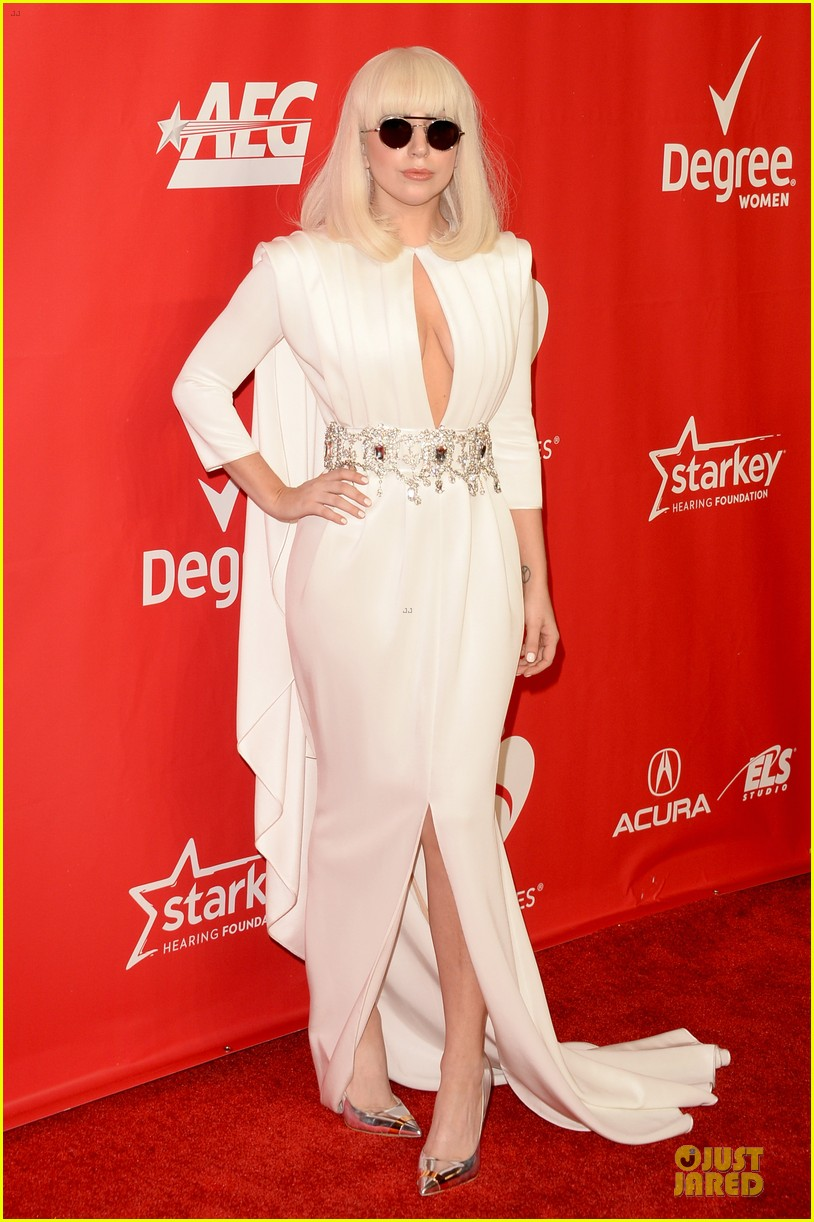lady gaga white cut out dress at musicares gala 2014 123039707