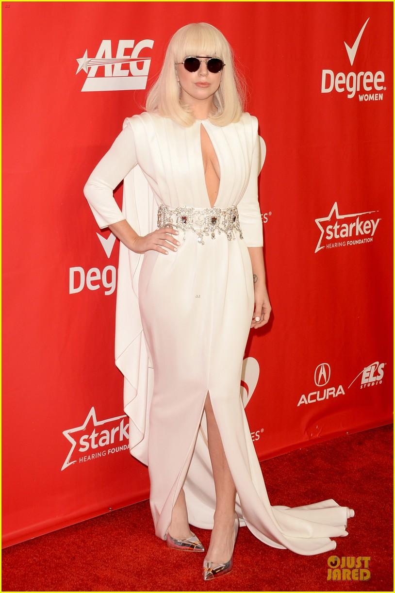 lady gaga white cut out dress at musicares gala 2014 12