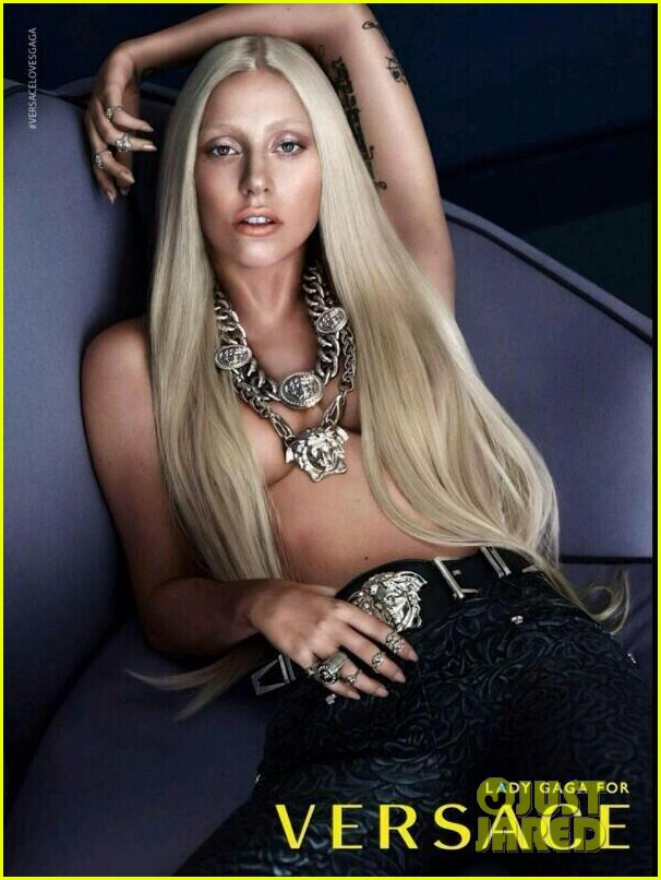 lady gaga topless versace ad see the pic 01
