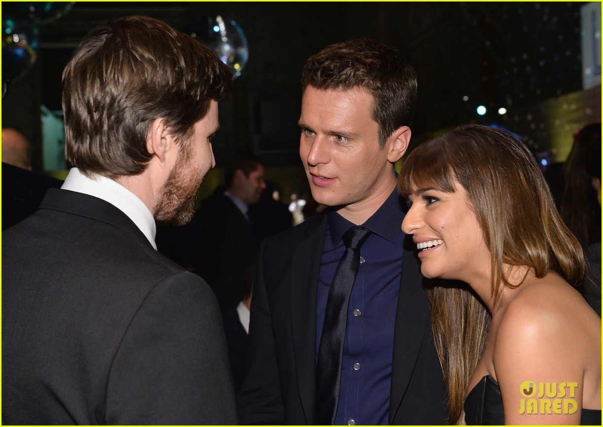 jonathan groff lea michele looking hollywood premiere 183032480