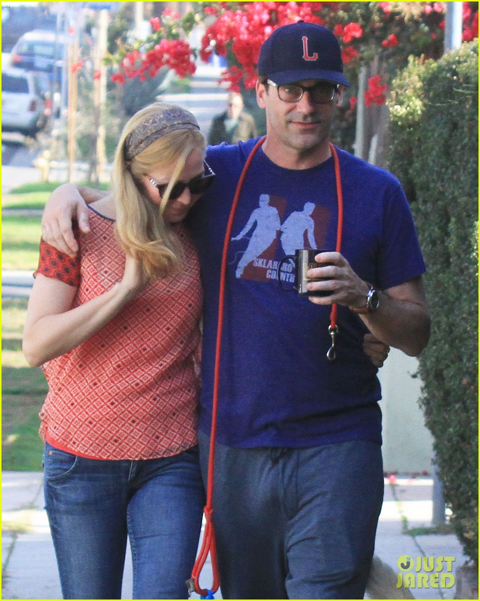 jon hamm stays comfy in sweatpants for morning dog walk 023038620