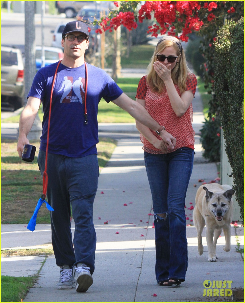 jon hamm stays comfy in sweatpants for morning dog walk 053038623