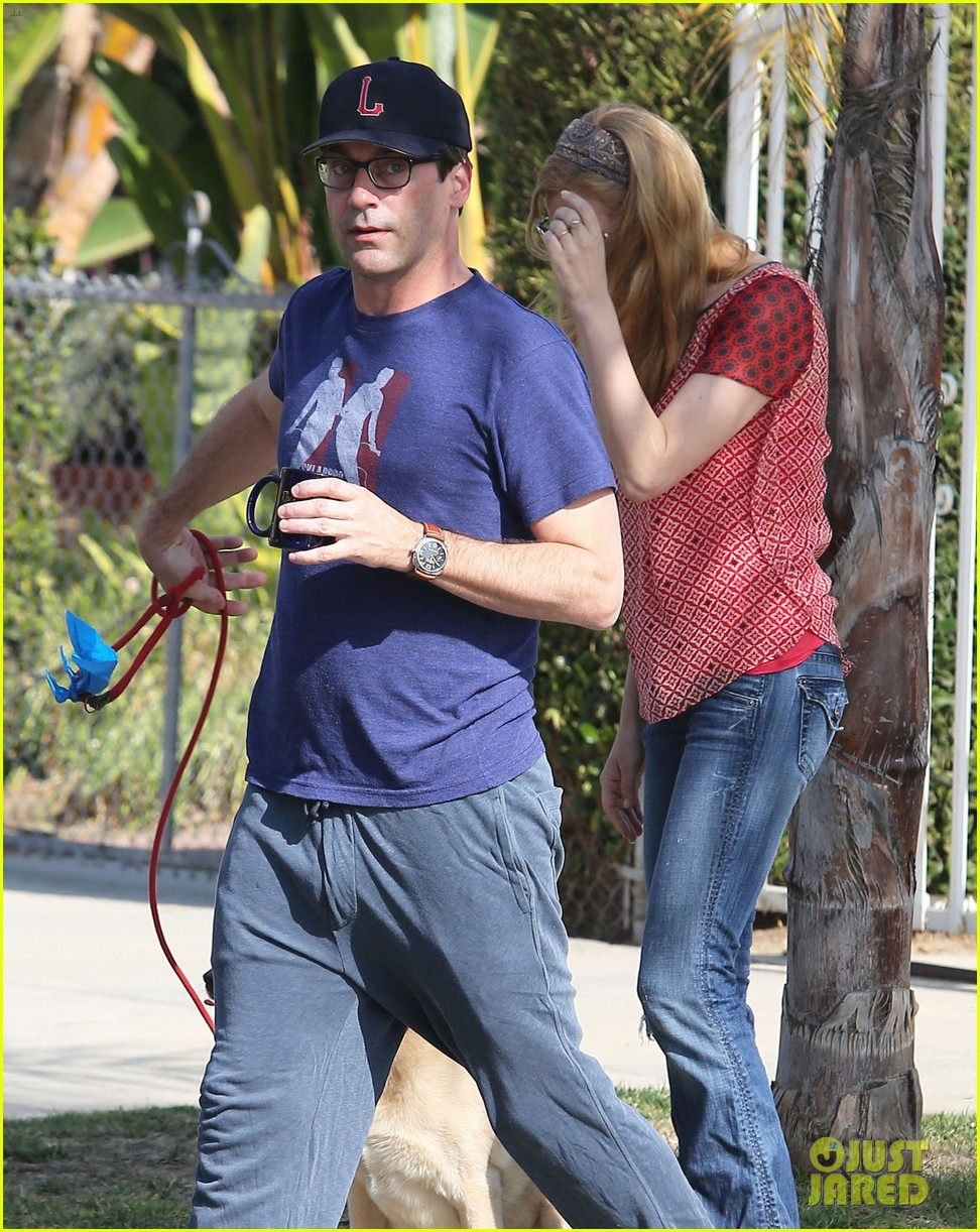 jon hamm stays comfy in sweatpants for morning dog walk 123038630
