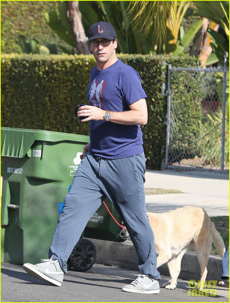 jon hamm stays comfy in sweatpants for morning dog walk 133038631
