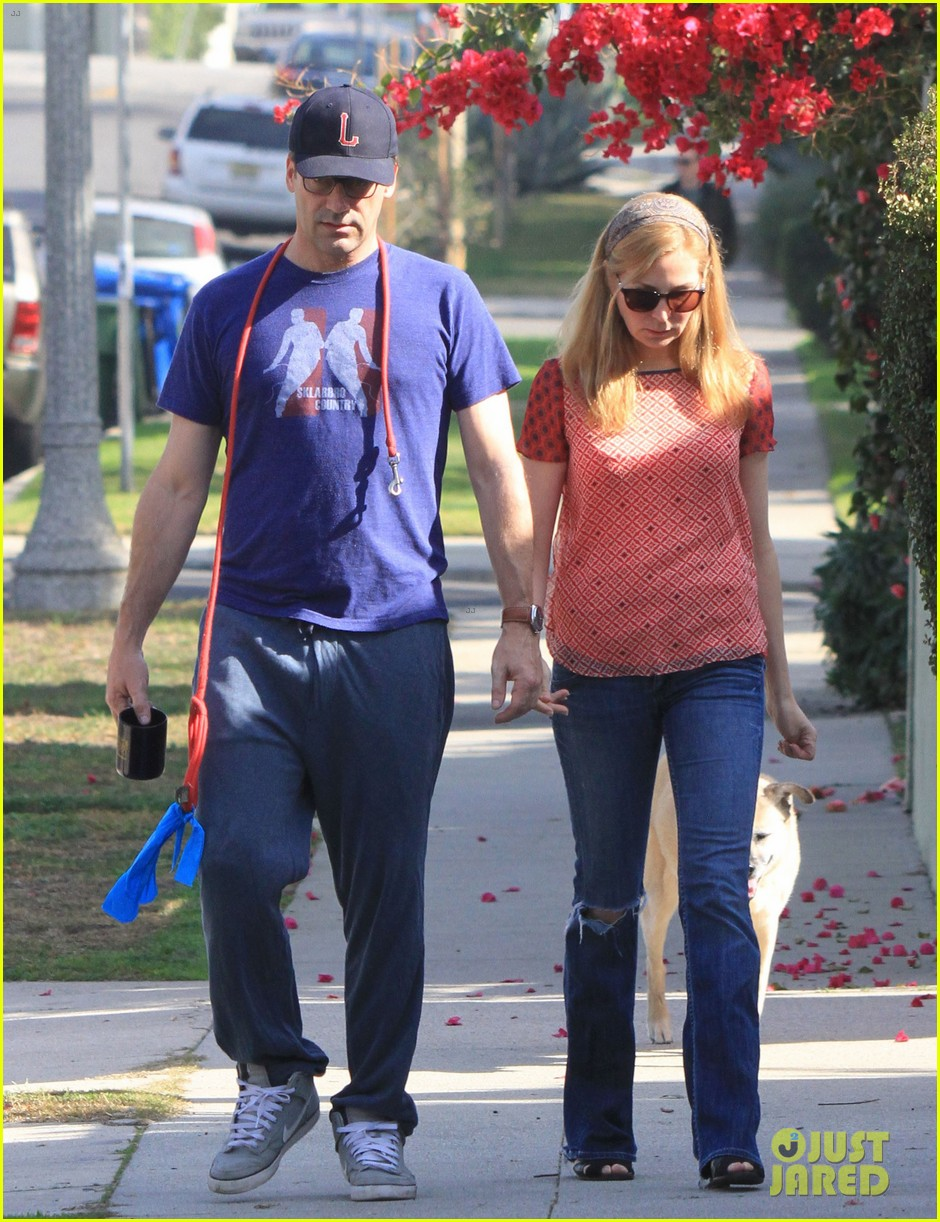 jon hamm stays comfy in sweatpants for morning dog walk 183038636