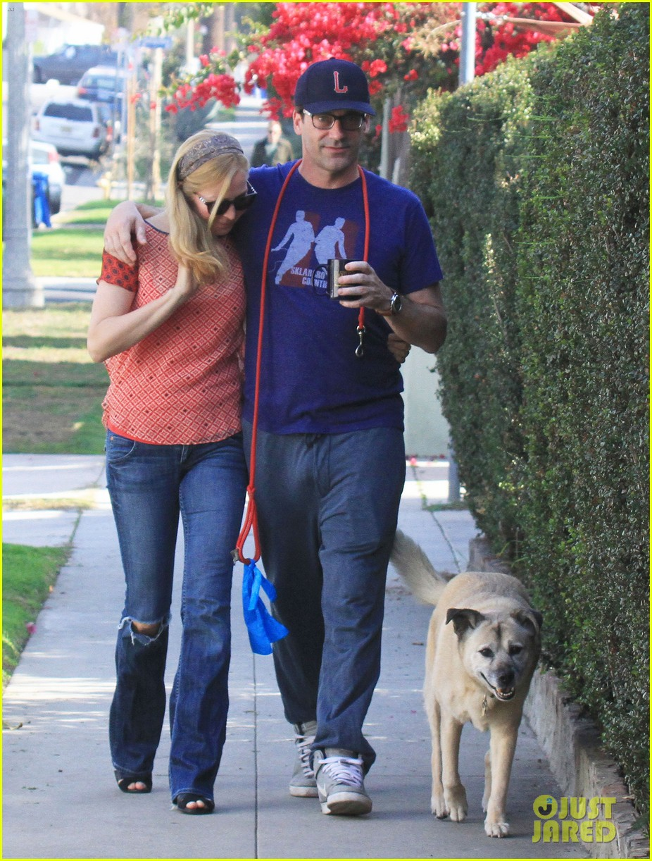 jon hamm stays comfy in sweatpants for morning dog walk 243038642
