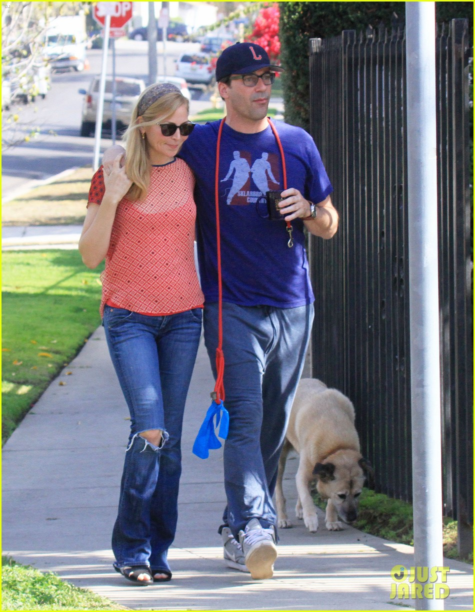 jon hamm stays comfy in sweatpants for morning dog walk 263038644