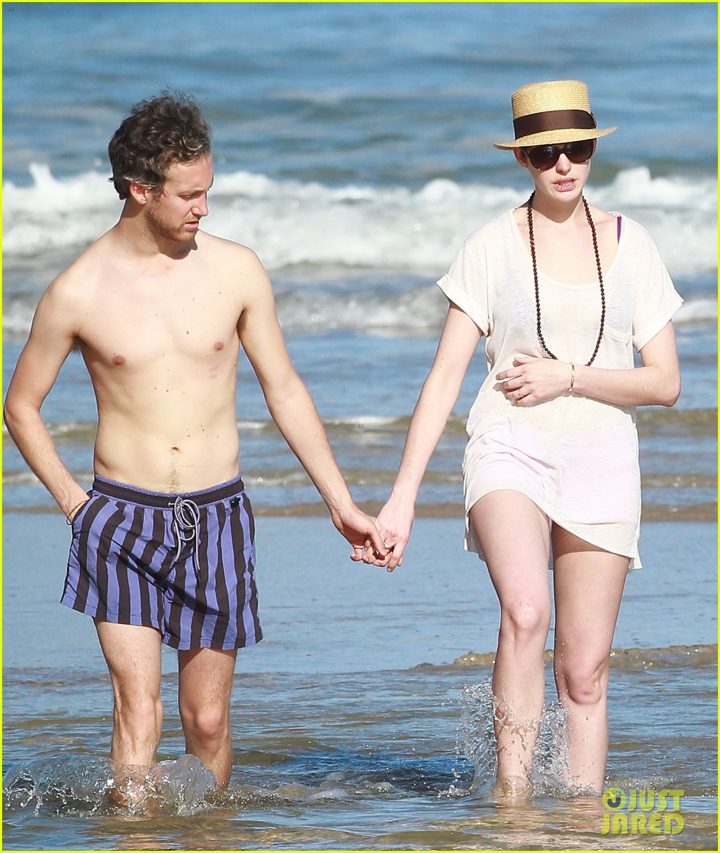 anne hathaway beachtime bliss with shirtless adam shulman 203026601