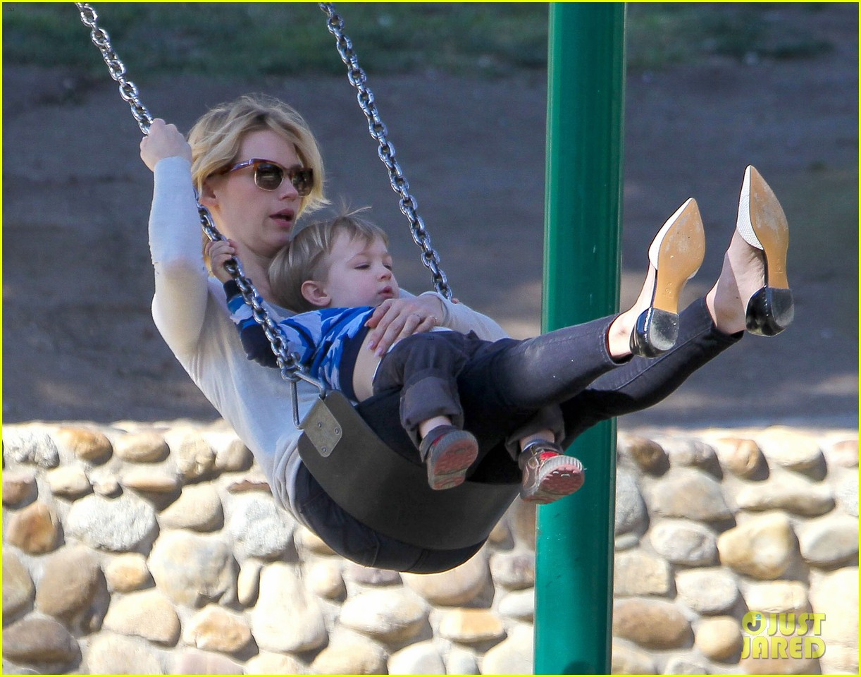 january jones joins instagram rides swings with xander 133039071