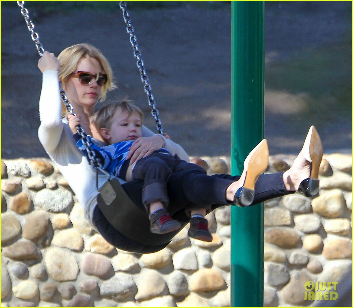 january jones joins instagram rides swings with xander 143039072