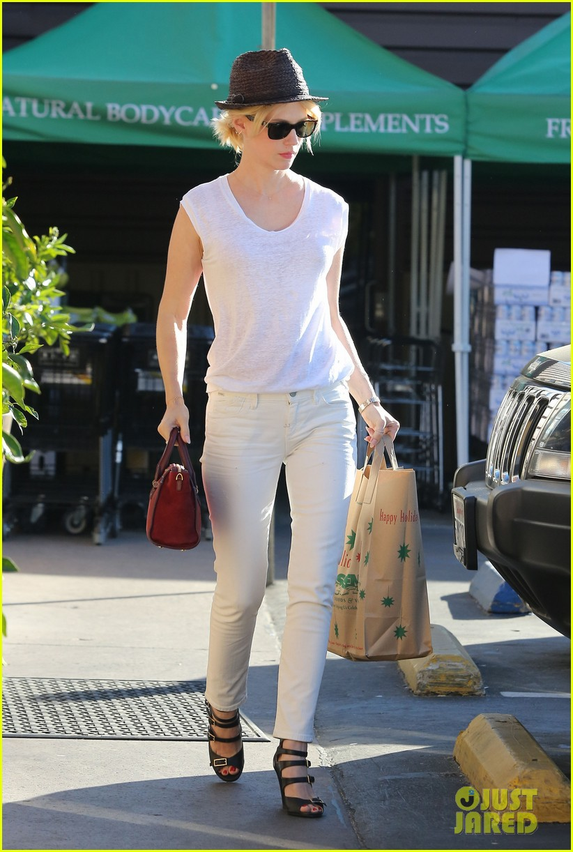 january jones vision in white for shopping trip 153032610