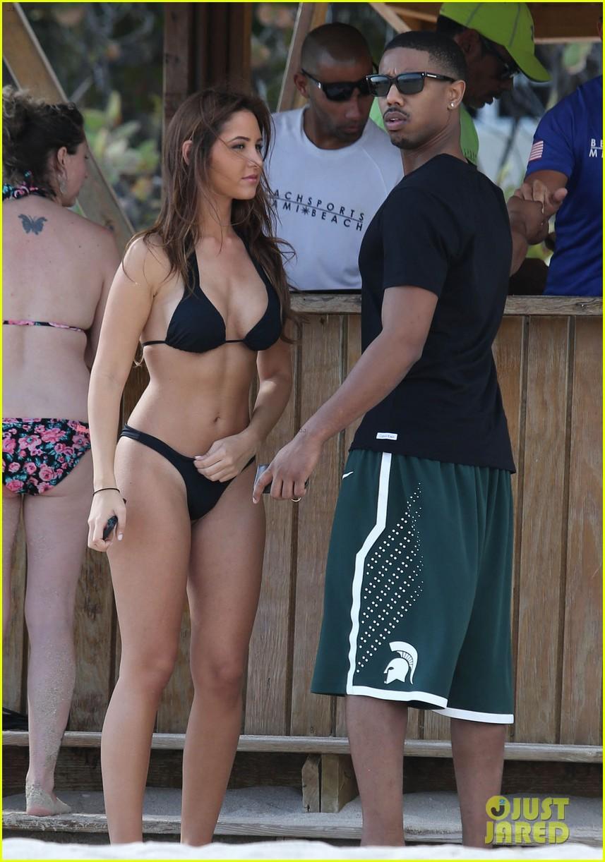 michael b jordan shirtless beach stroll with mystery girl 01