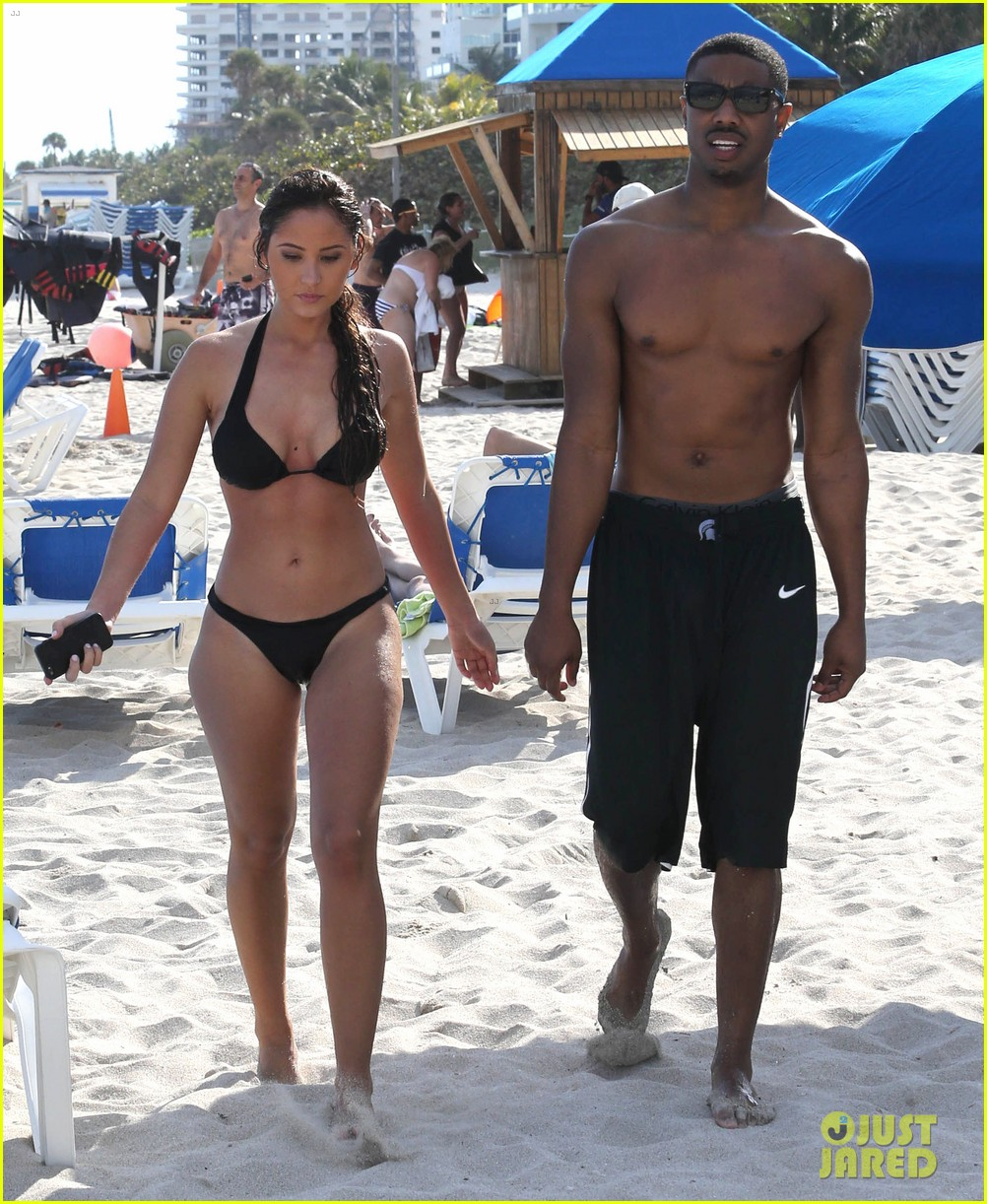michael b jordan shirtless beach stroll with mystery girl 053040210