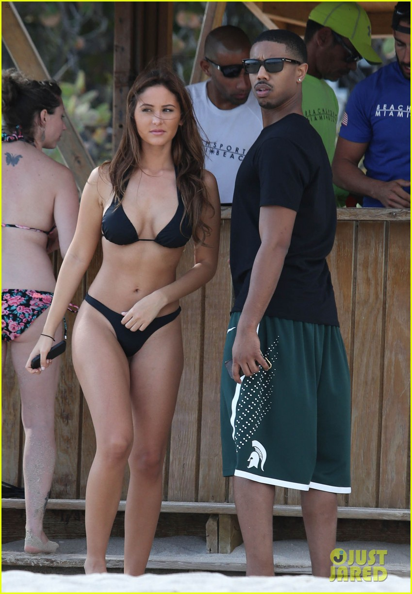 michael b jordan shirtless beach stroll with mystery girl 08