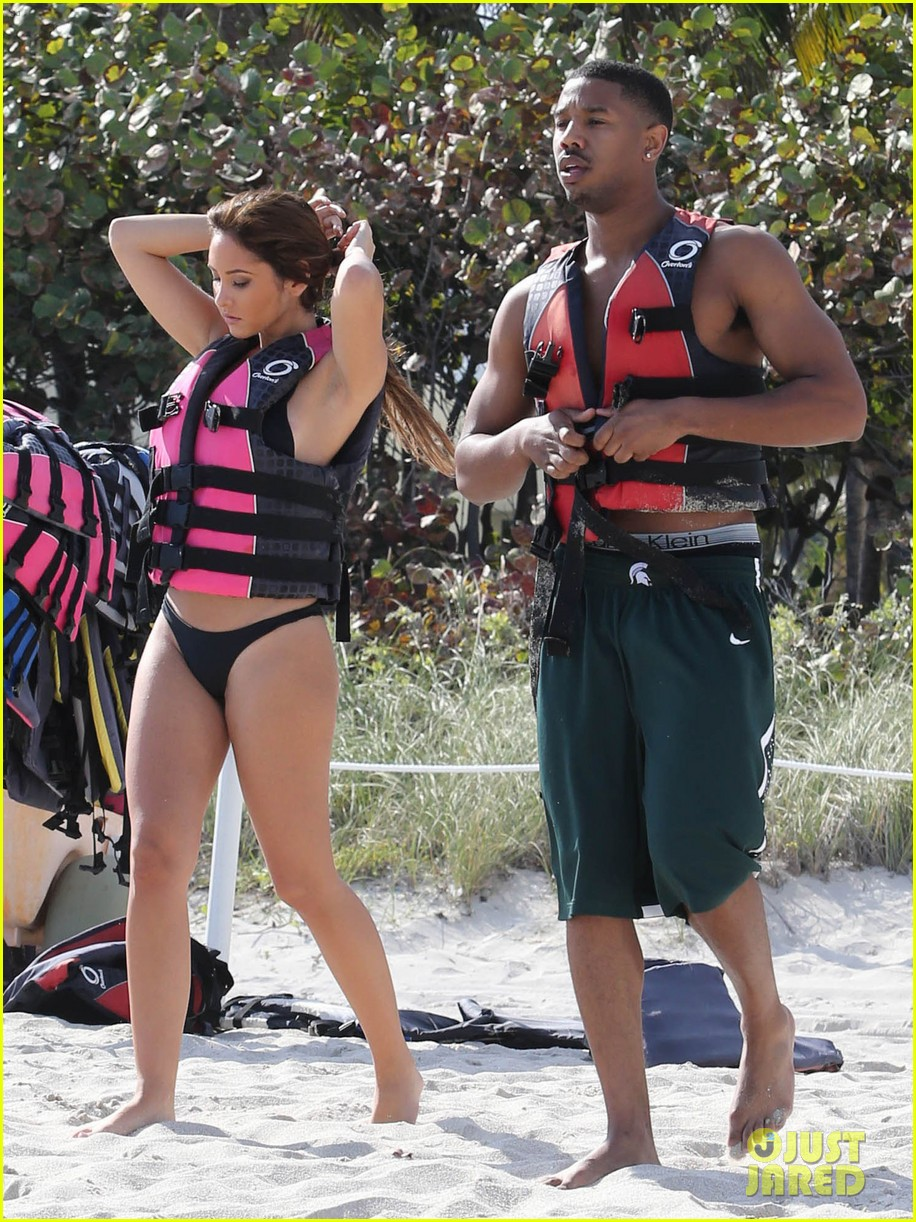 michael b jordan shirtless beach stroll with mystery girl 113040216