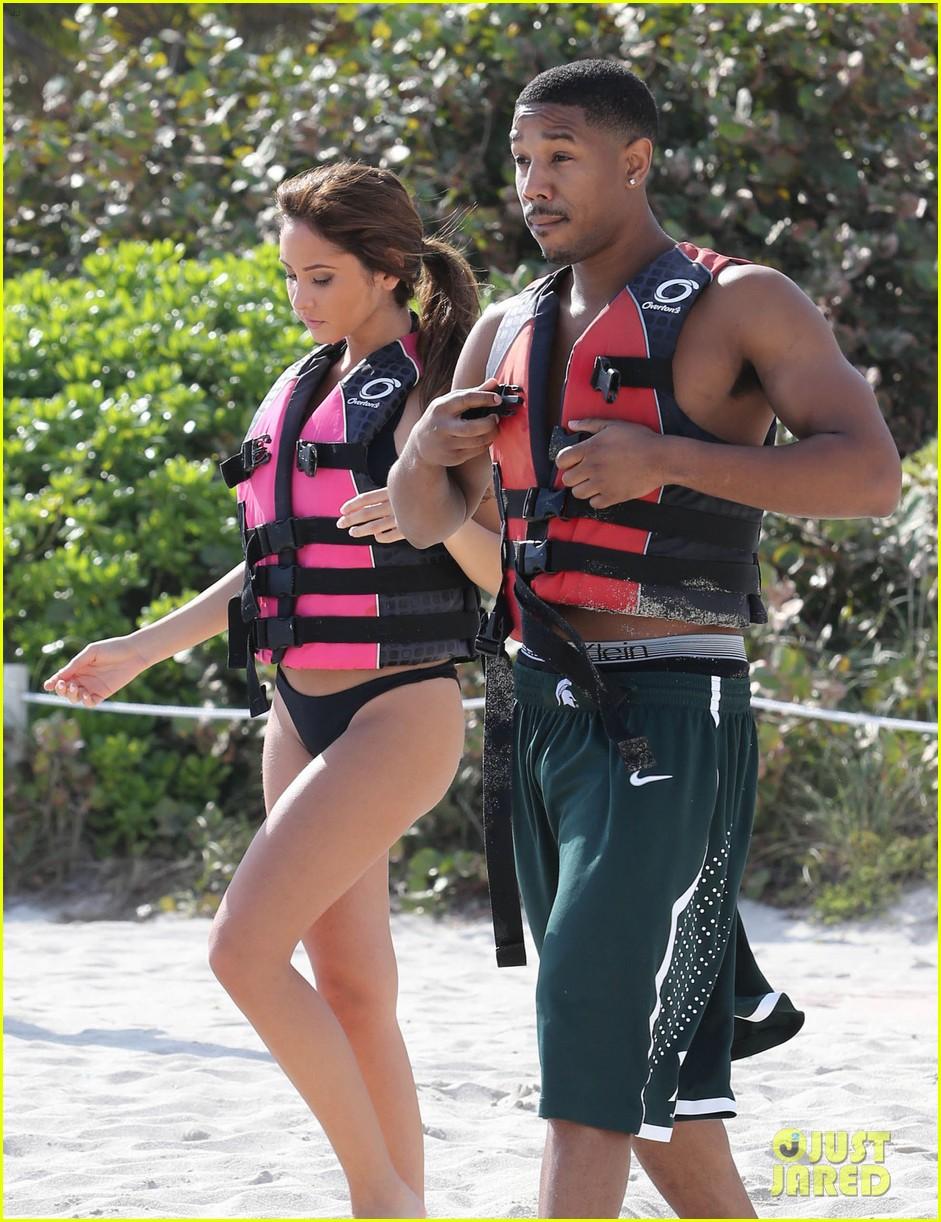 michael b jordan shirtless beach stroll with mystery girl 133040218