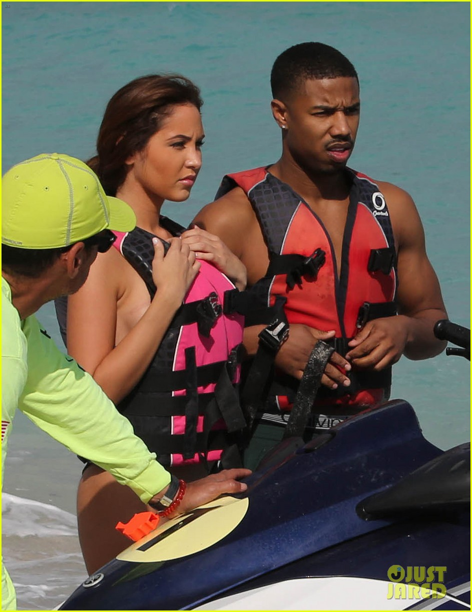 michael b jordan shirtless beach stroll with mystery girl 143040219