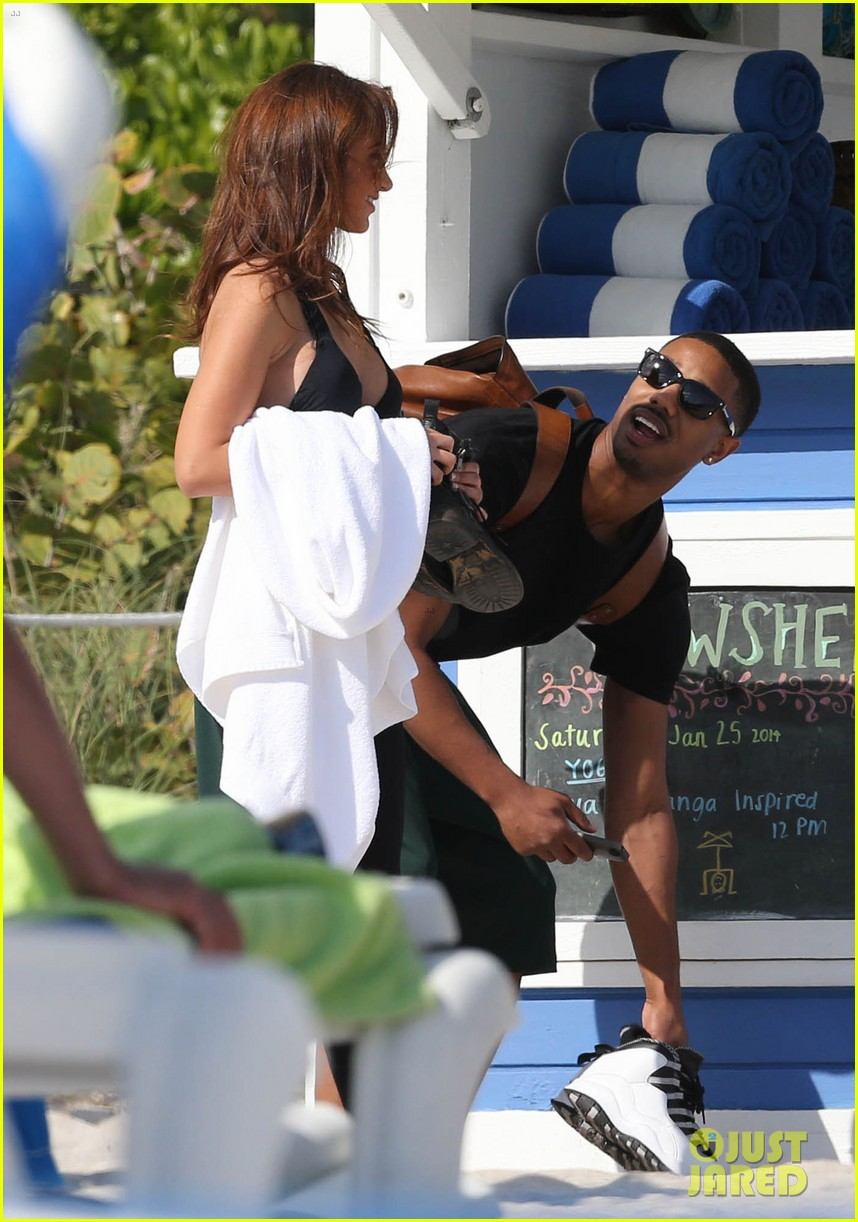 michael b jordan shirtless beach stroll with mystery girl 203040225