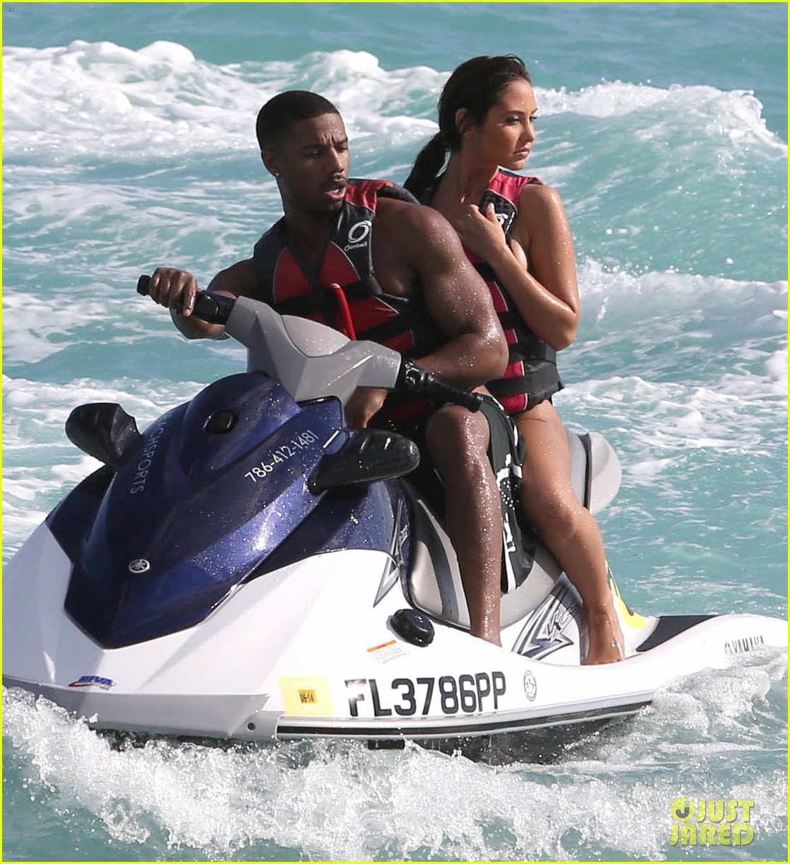 michael b jordan shirtless beach stroll with mystery girl 213040226