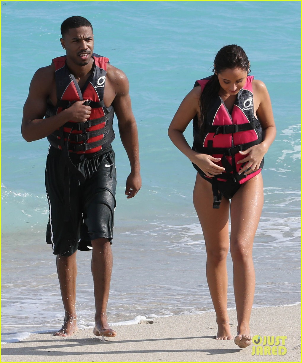 michael b jordan shirtless beach stroll with mystery girl 243040229