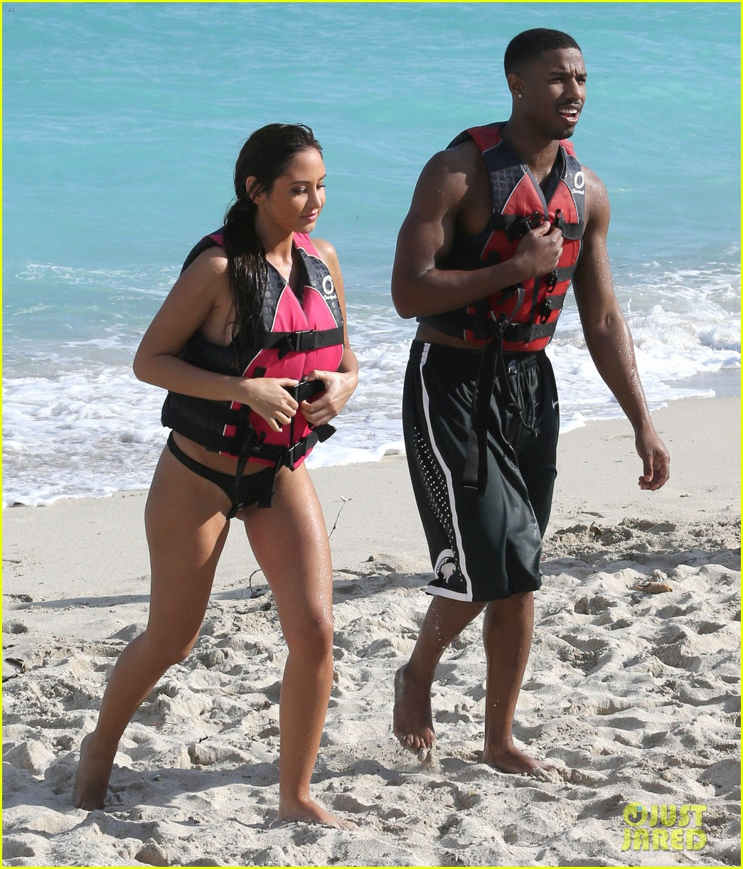 michael b jordan shirtless beach stroll with mystery girl 253040230