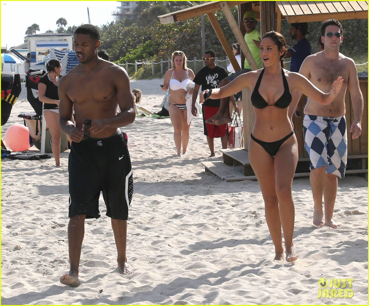 michael b jordan shirtless beach stroll with mystery girl 263040231