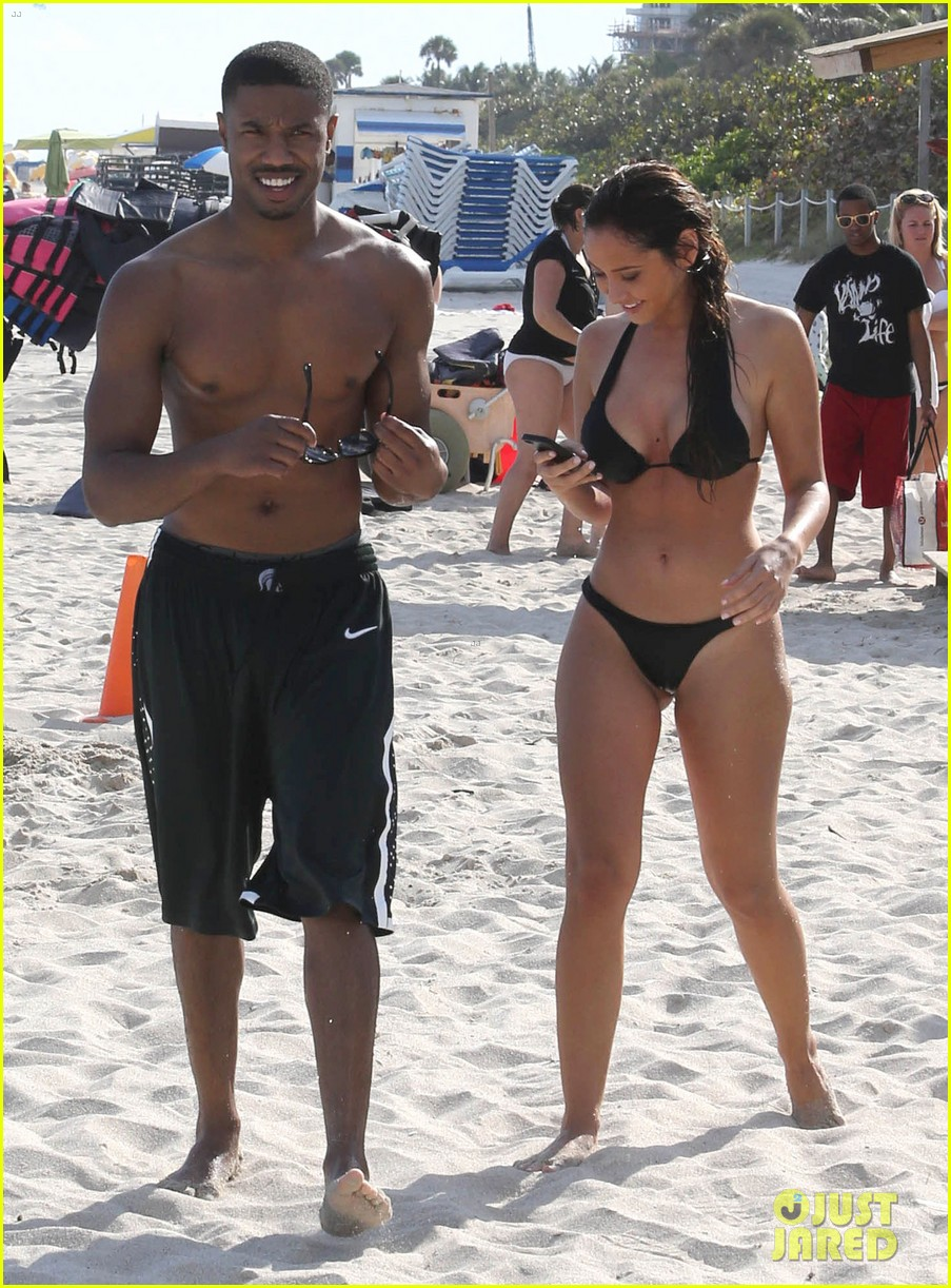 michael b jordan shirtless beach stroll with mystery girl 273040232