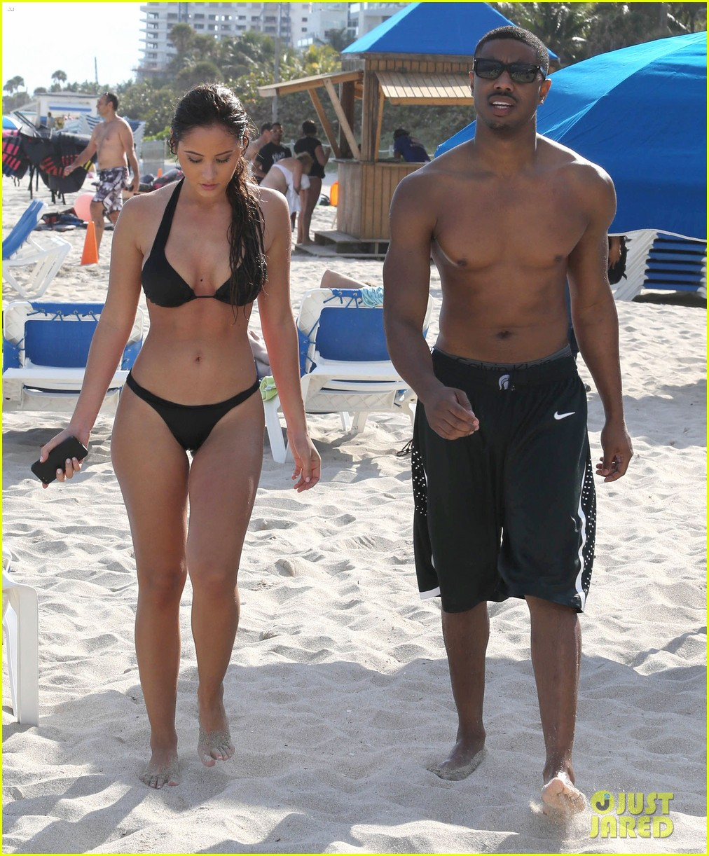 michael b jordan shirtless beach stroll with mystery girl 293040234