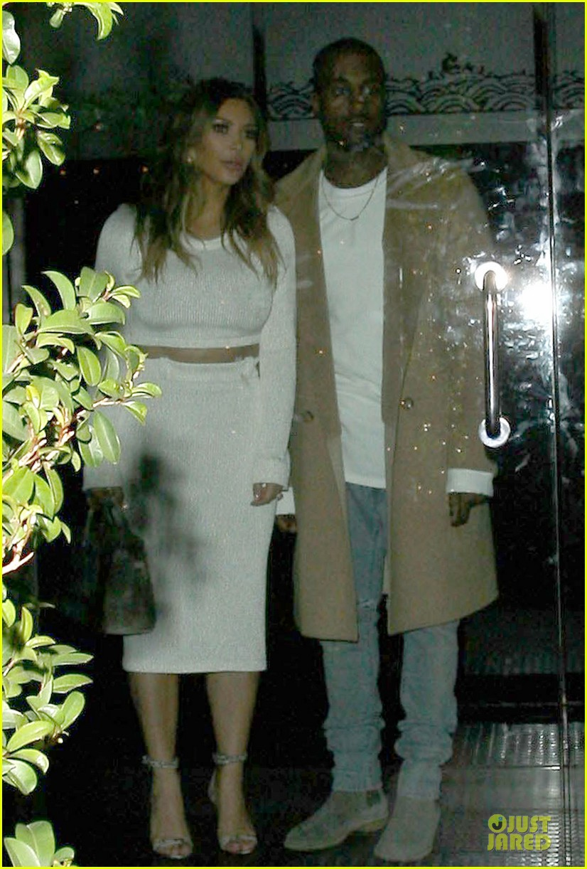 kim kardashian bares midriff for dinner with kanye west 103029902