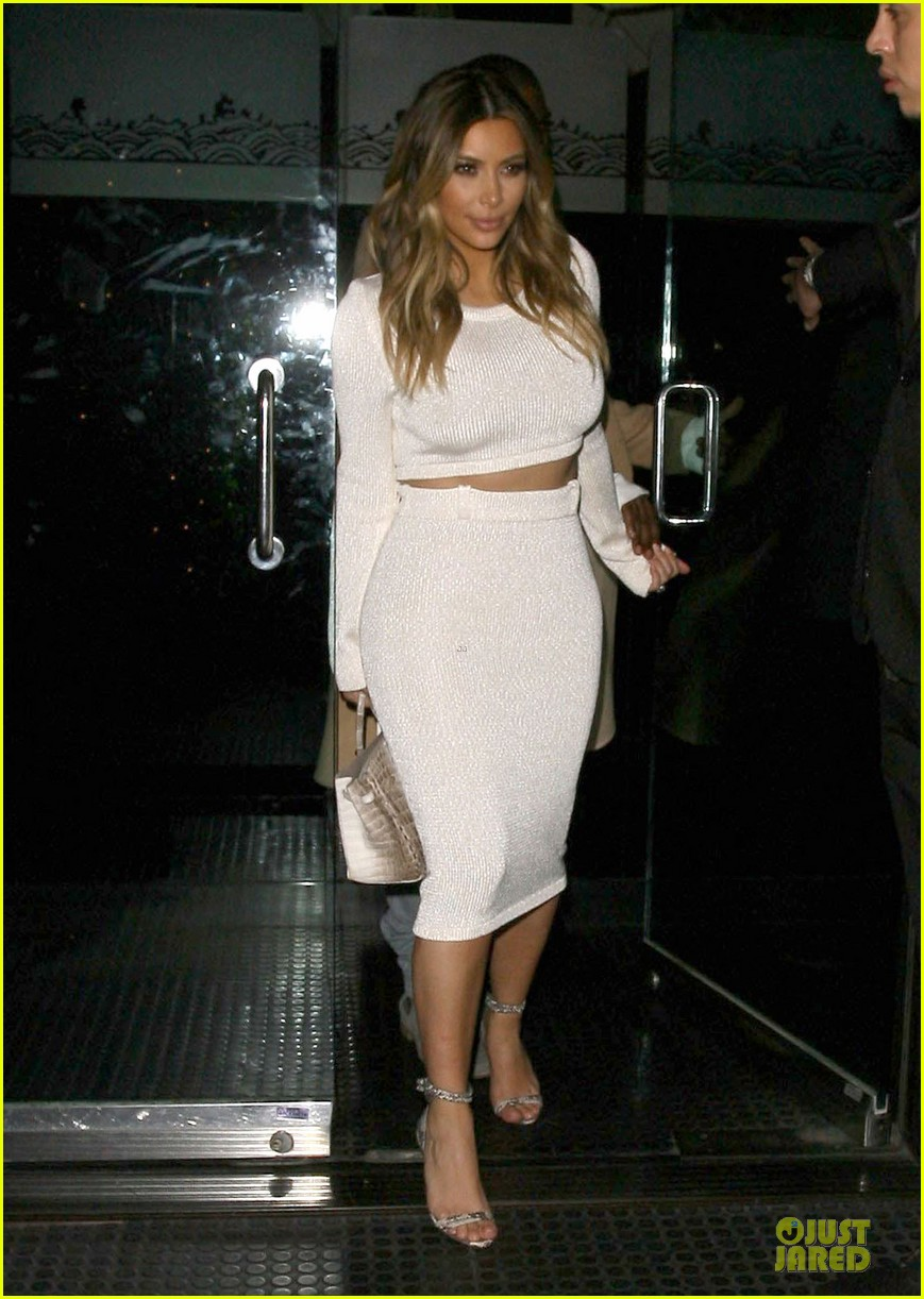 kim kardashian bares midriff for dinner with kanye west 143029906