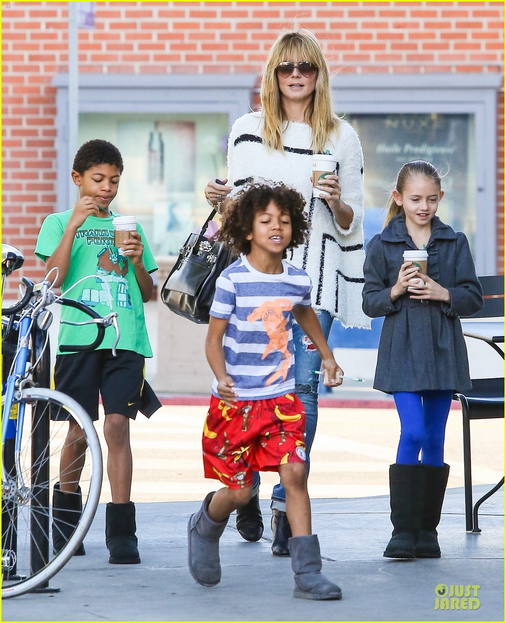 heidi klum grabs coffee before jag gym stop with the kids 13