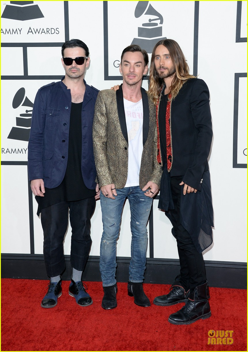 jared leto 30 seconds to mars grammys 2014 red carpet 013041280
