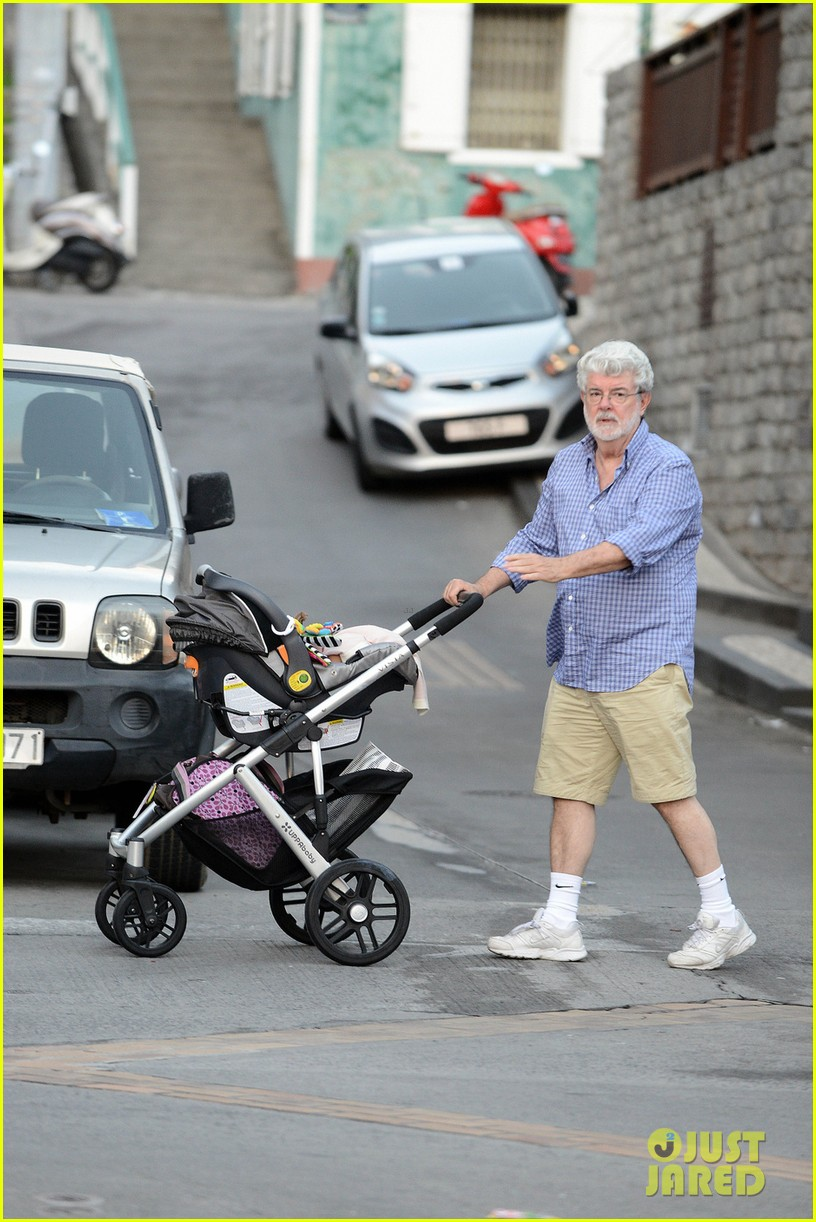 george lucas shows off baby everest on new years vacation 013021565