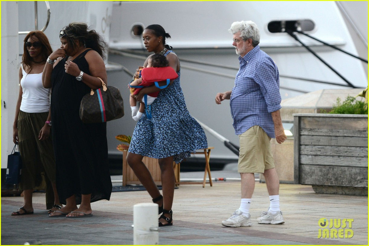 george lucas shows off baby everest on new years vacation 033021567