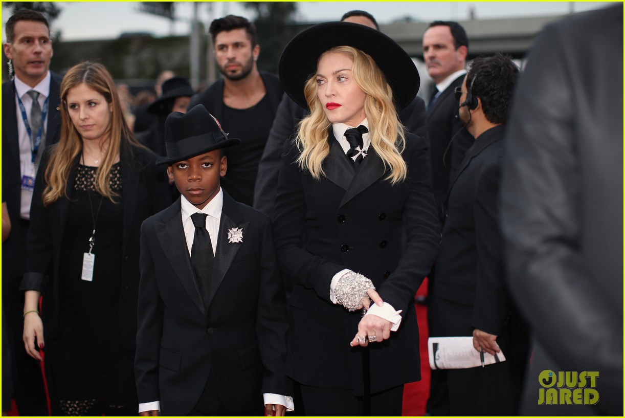 madonna grammys 2014 red carpet with son david 083041016