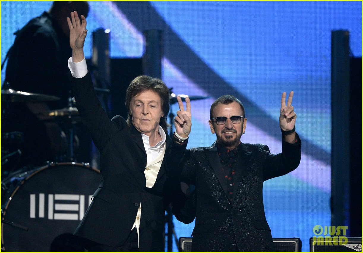 paul mccartney ringo starr reunite at grammys 2014 video 053041479