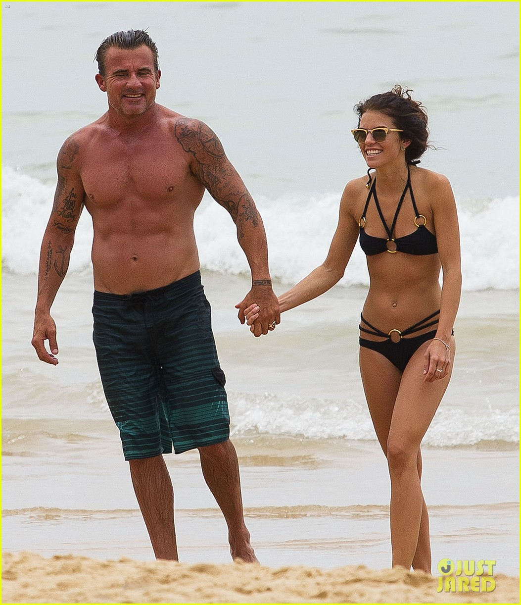 annalynne mccord bikini beach babe with shirtless dominic purcell 043021348