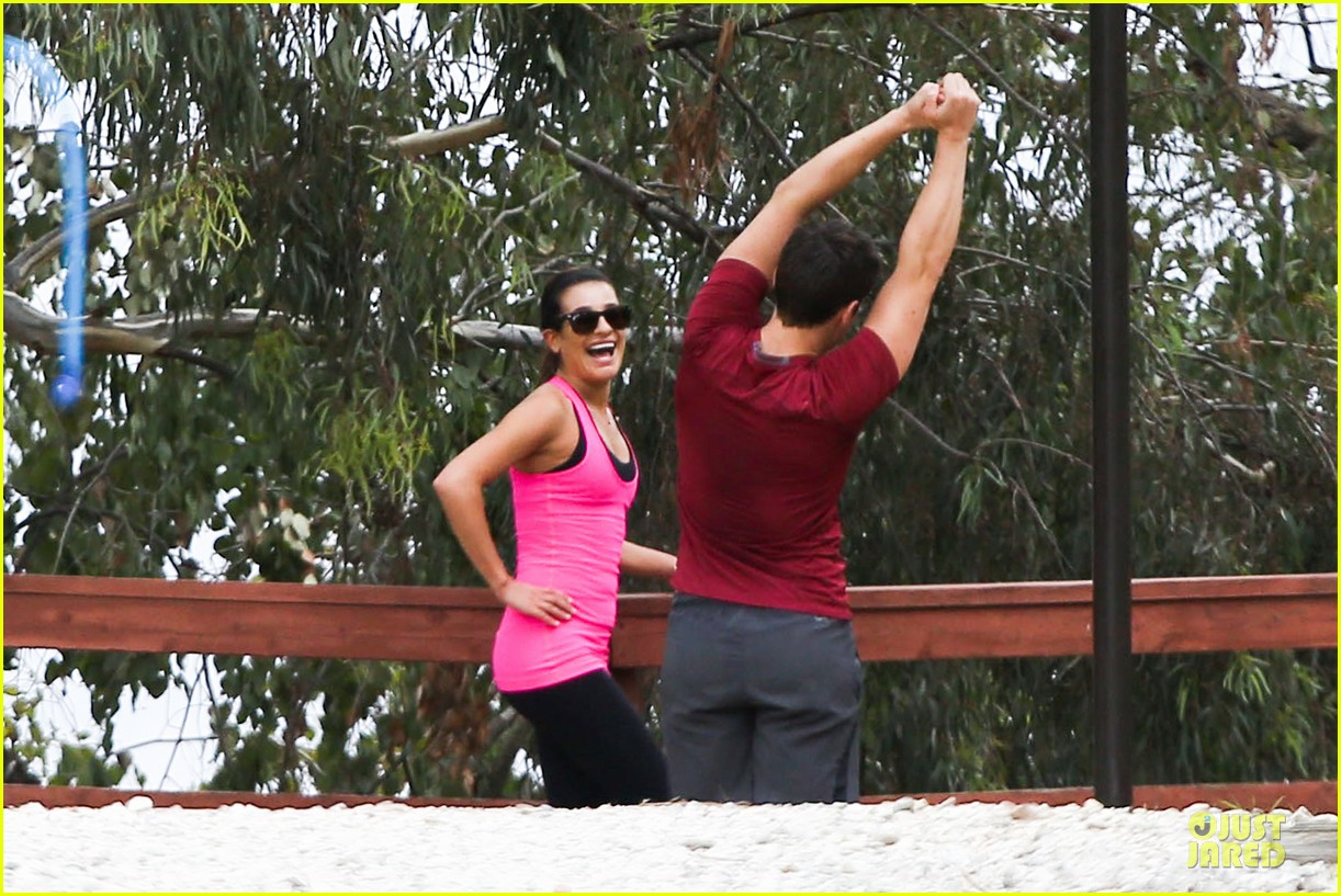 lea michele stretches with jonathan groff during hike 023039709