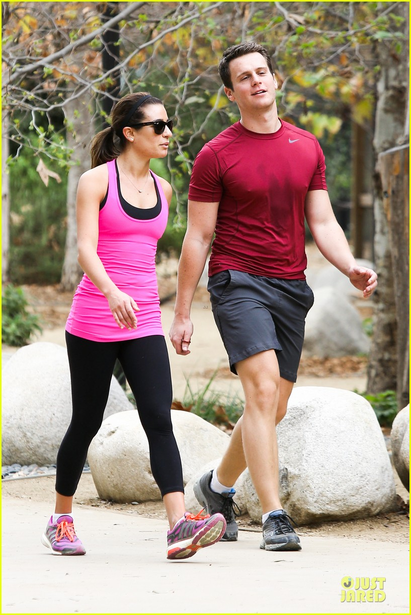 lea michele stretches with jonathan groff during hike 033039710