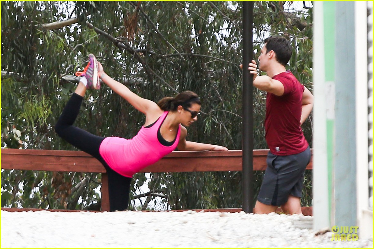 lea michele stretches with jonathan groff during hike 04